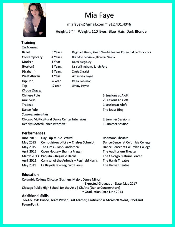 Dance Resume Template Dance Resume For College Audition Dance