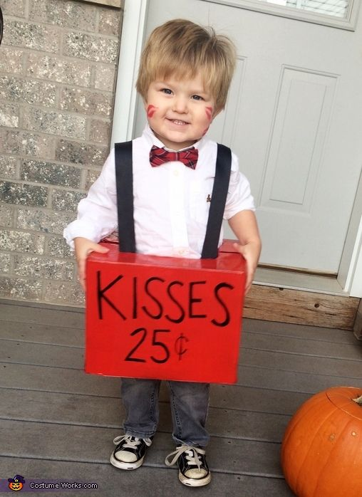 Rachel: This is Layker. He is two years old and is dressed as a kissing booth for Halloween! His whole costume cost us around $5. We took a pull-ups box and...
