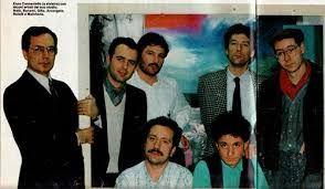 """MILANO,"""" stazione centrale"""" gruppo artistico anni 1986.GALL.Enzo Cannaviello,Francesco Bonami,Nata,Nereo Rotelli,Klaus Merchens,Arcangelo,Gaetano Grillo"""