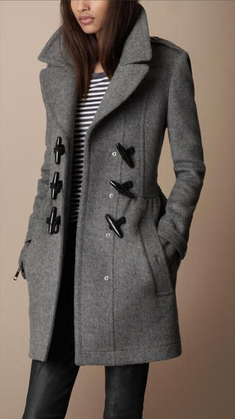 Burberry Brit Gray Toggle Detail Wool Coat