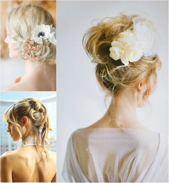 messy bride updo for wedding 2013 with clip on blonde long hair extensions clip on