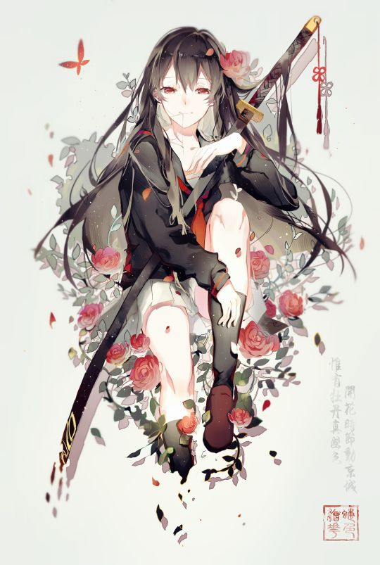 Beautiful Anime Girl With Red Roses And Weapon