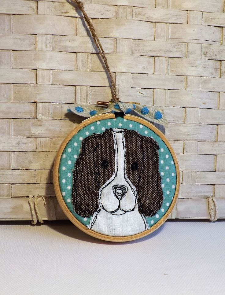 Springer spaniel mini hoop textile art by TheDogandtheMoon on Etsy