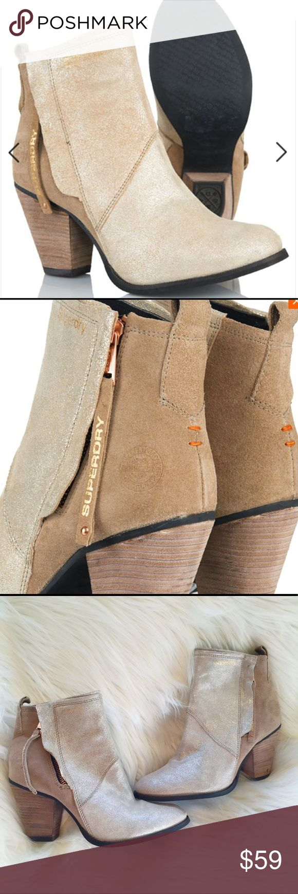 """Superdry Dillanger golddust booties Rose Gold pull Superdry women's Dillanger ankle boots with a cowboy heel and glitter finish to the front part of the boot. Side zip with rose gold hardware. Signature orange stitch detail and a gold embossed logo on the heel. Very good pre-loved condition – a couple of marks on the heels and faintly on the suede as pictured. Size 9. 3.25"""" heel Superdry Shoes Ankle Boots & Booties"""