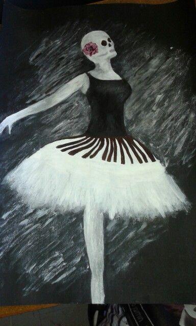 Paint and Pen sketch: surreal metamorphosis -ballet & music  skull  red rose  dancer