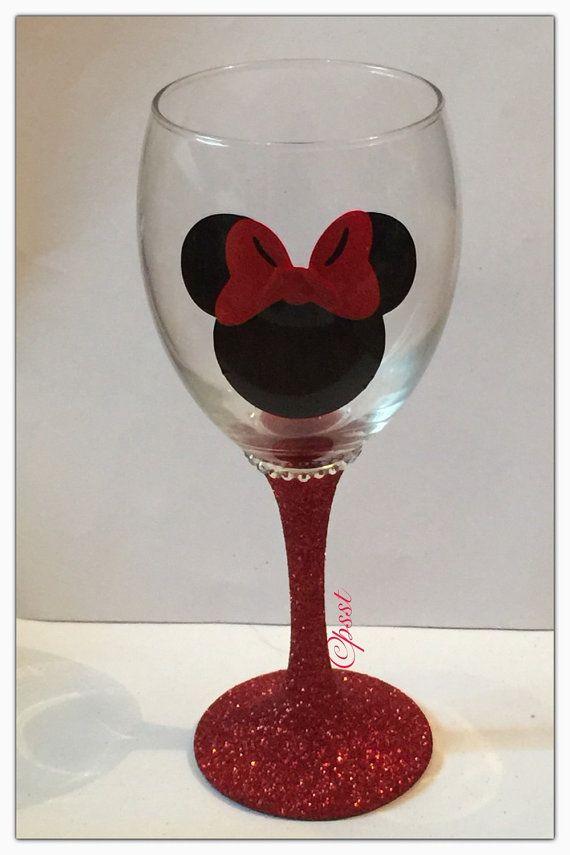 Disney Princess Silhouette Glitter Wine Glass by PsstGifts on Etsy