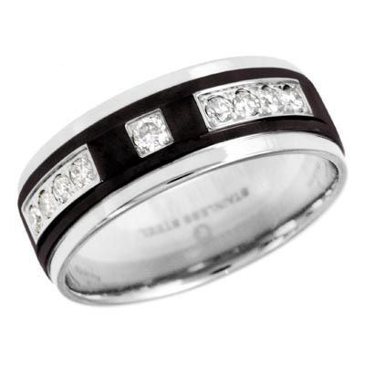 Men's 1/4 CT. T.W. Diamond Wedding Band in Two-Tone Stainless Steel - Zales