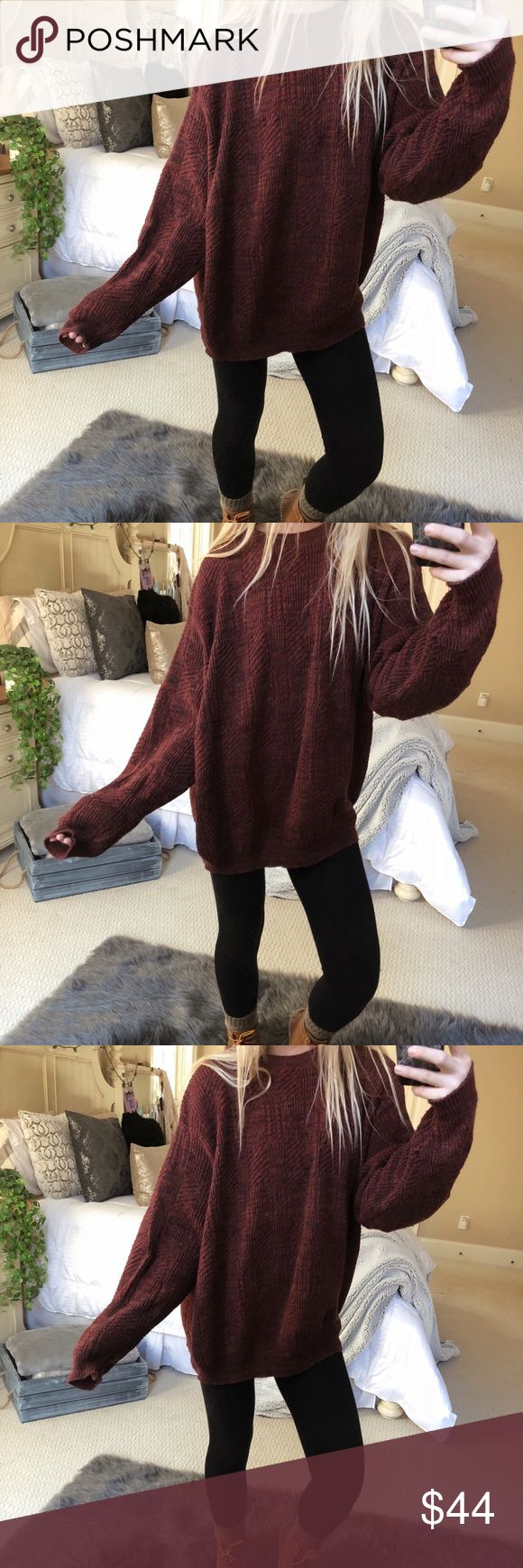 rust chunky knitted sweater super gorgeous and cozy rust + burgundy blended chunky knit sweater. fits a size medium or large 🍂🥀🌲 — * all offers 100% welcomed + encouraged * bundle for a private discount of at least 20% off  * orders guaranteed to ship within 1-2 days unless stated otherwise * ask me any questions if you ever have any! xo Sweaters