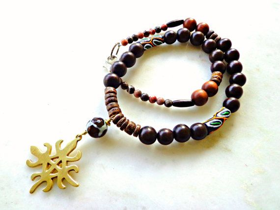 Mens Necklace Mens African Jewelry Adinkra by KheperaAdornments