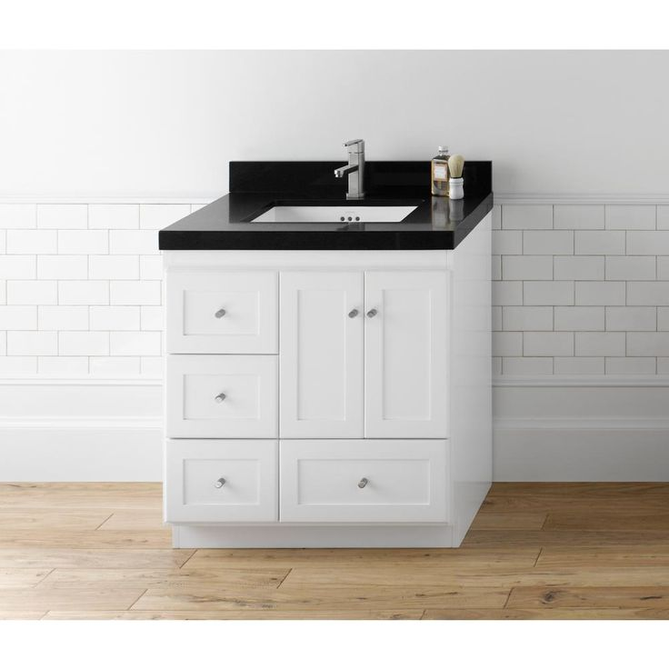 Ronbow Shaker 30 in. W Vanity in White with Quartz Vanity Top in Black with White Basin
