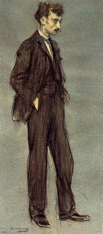 Ramón Casas (Catalan-Spanish, 1866-1932), Retrato de Ignasi Iglésias, 1897-99. Charcoal, gouache and pastel, 62 x 28 cm. Museu Nacional d'Art de Catalunya, Barcelona.