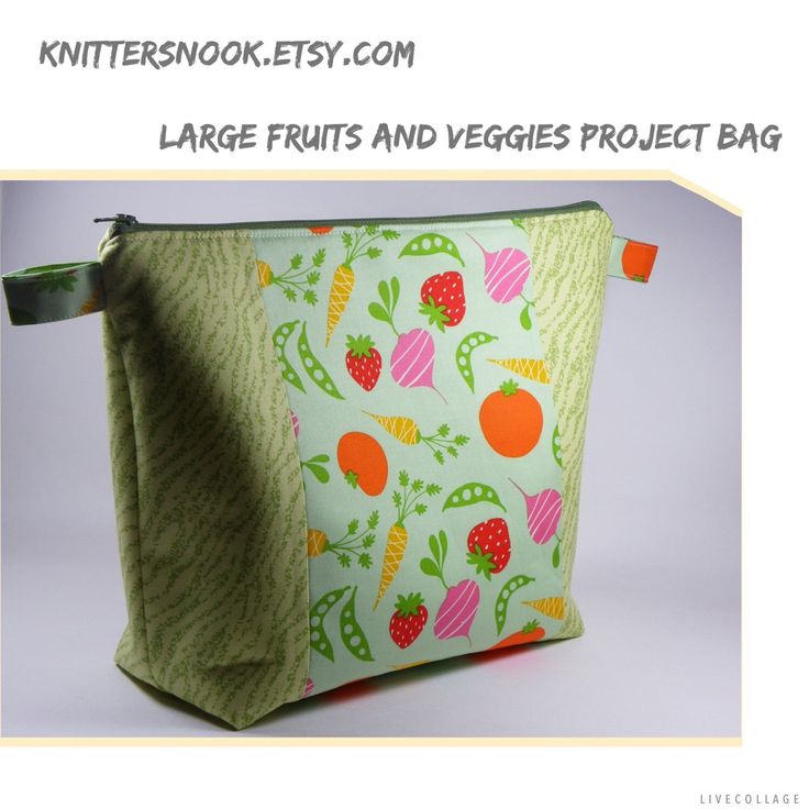The first bag available in my large sized wedge style knitting project bags. I love how it turned out after quite a few months of playing around with different sizes. My quirky teen thinks this one should go to a farmer, vegetarian or maybe a bunny. :-).