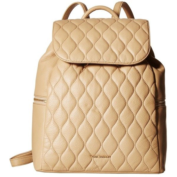 Vera Bradley Quilted Amy Backpack (Nude) Backpack Bags ($258) ❤ liked on Polyvore featuring bags, backpacks, draw string bag, flat backpack, strap backpack, vera bradley bags and quilted bags