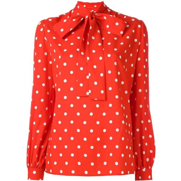 Saint Laurent polka dot lavaliere blouse ($1,445) ❤ liked on Polyvore featuring tops, blouses, red, rayon tops, red blouse, dot blouse, bow collar blouse and pattern blouses