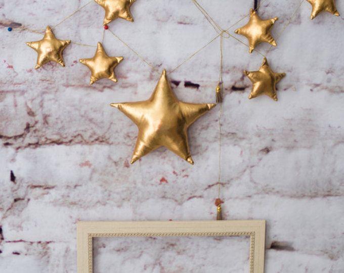 Metálicos estrellas banner estrella oro, guirnalda wedding, guirnalda, estrella de oro del empavesado, twinkle little estrellas, bodas de oro, oro cumpleaños