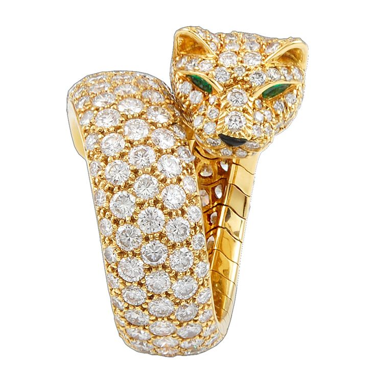 CARTIER Diamond, Emerald Onyx 'Panther' Ring