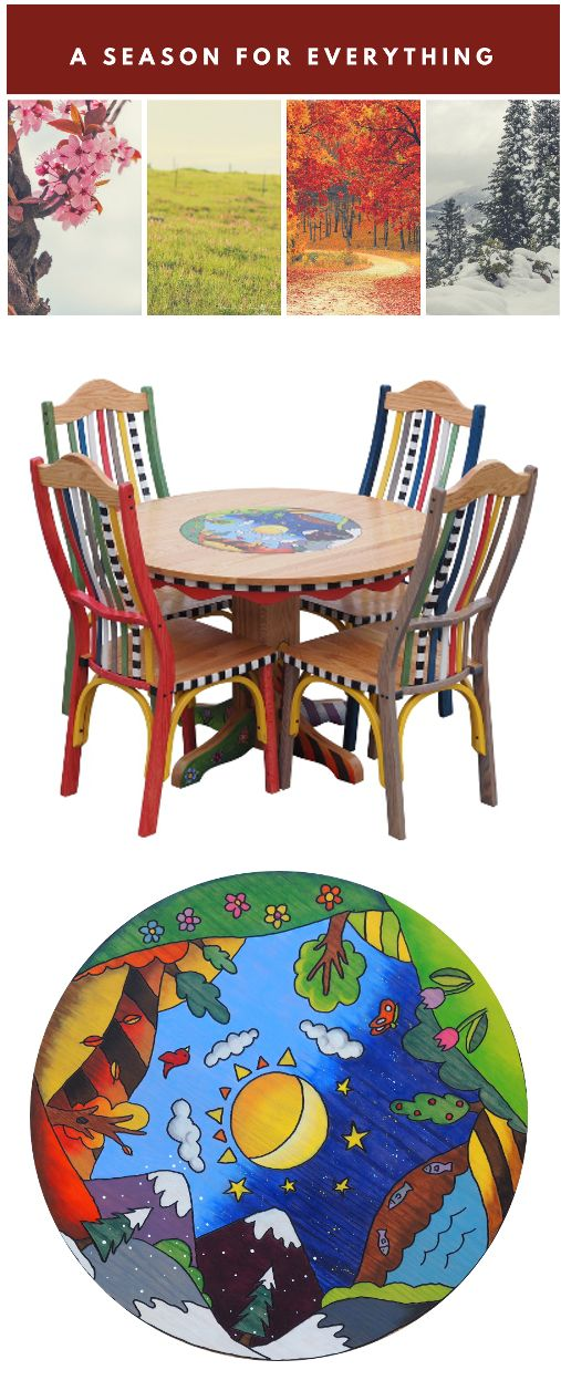 """""""A Season for Everything"""" fourseasons hand painted, hand routed, hand crafted solid woodtable! Read Irma's latest blog on the inspiration for this one of a kind whimsical kitchen/dining table set."""