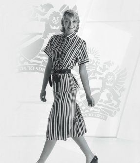 In 1985 Roland Klein designed the British Airways uniforms, which included a striped polyester two-piece set, a blue leather belt, and a midnight blue blazer.