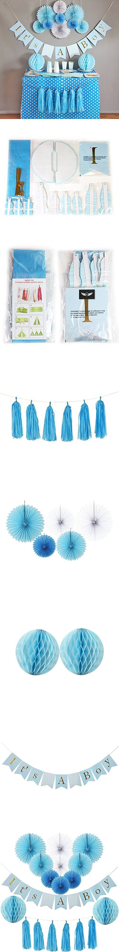 Baby Shower Decorations for Boy, Its A Boy, Banner, Tissue Paper, Fans, Honeycomb Paper Balls, Tassels, Blue, 13pcs., Gold Foil, Hanging, Party Supplies, Indoor/Outdoor