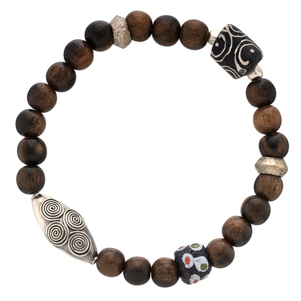 """Adesso """"Blake"""" Bracelet; brown wood bead bracelet with sterling silver, powder glass and antique glass from Ghana and Italy.: Silver Oval, Antique Glass, Men Bracelets, Sterling Silver, Glass Beads, Brown Wood"""