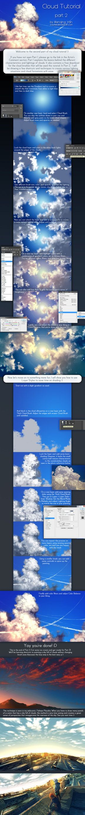 Cloud Tutorial Part 2 by yuumei on deviantART Click the link, In the author's description will be a ink to free abr file or if you want to all fair there is a purchase button on the right side. Only 100 dA points (80-1$)