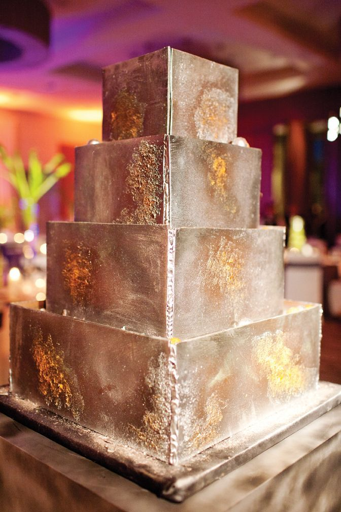 wedding cake that looks like welded metal    robertumbower
