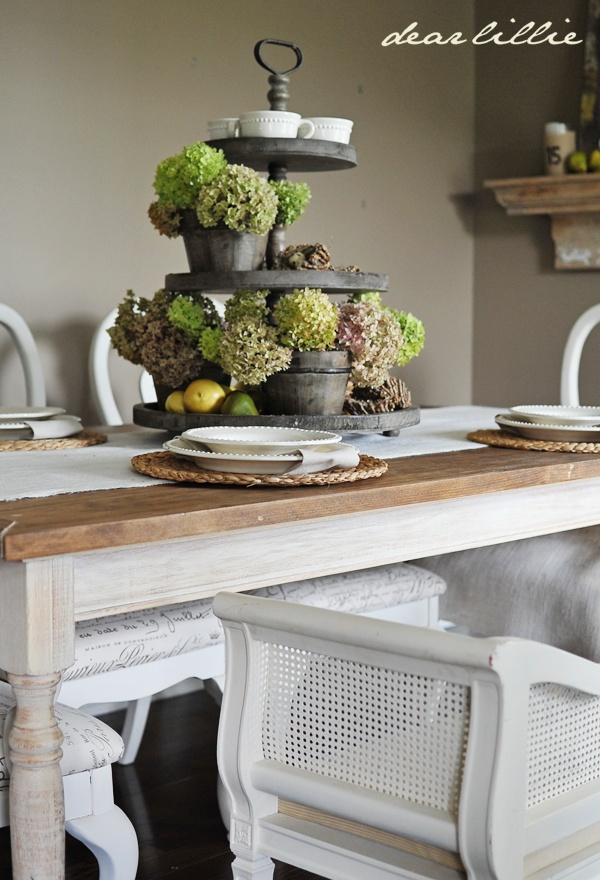 Metal 3 Tiered Centerpiece, Dried Hydrangeas · Rustic CenterpiecesDining  Table ...