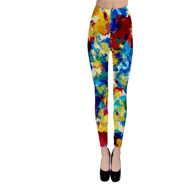 SP FASHION Womens Red Yellow and Blue Mixing Color Leggings (28 CAD) ❤ liked on Polyvore featuring pants, leggings, blue trousers, legging pants, blue leggings, white pants and yellow leggings