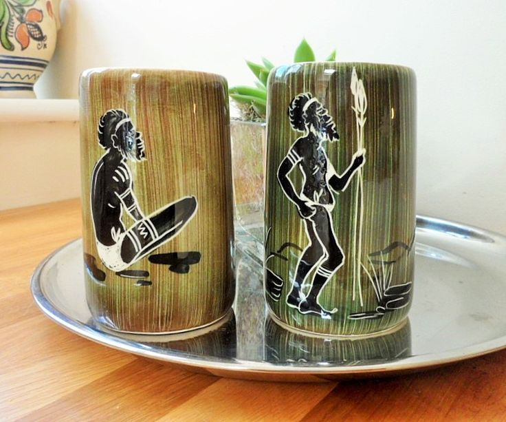 Florenz Pottery Aboriginal Design Tall Coffee Mugs Pair Vintage Australian 1970s Collectable Art Pottery by BelieveToBeBeautiful on Etsy