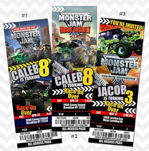 Monster Truck Monster Jam Invitation, Ticket Invitation on Etsy, $11.99