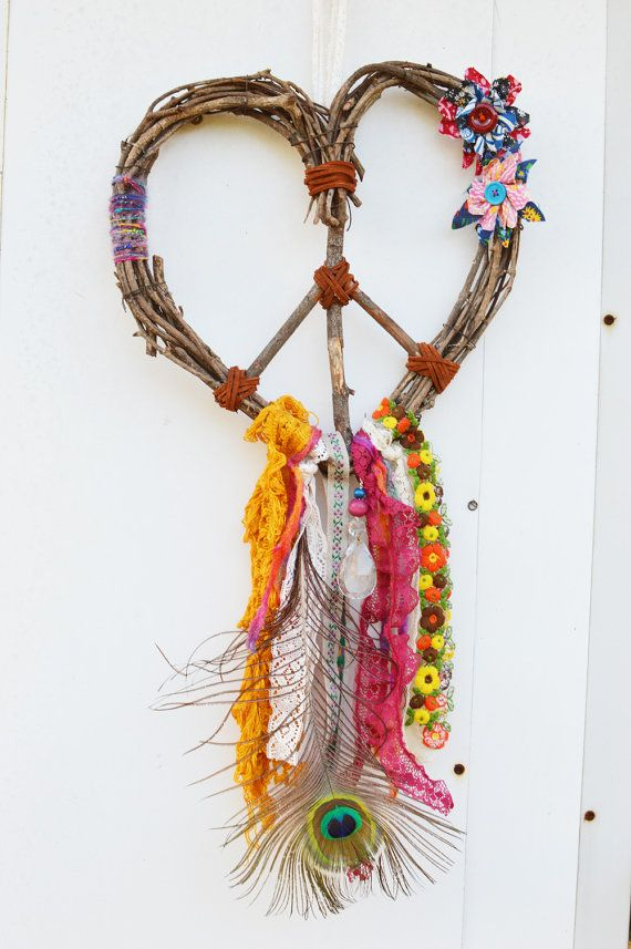 Love Gypsy Heart Wreath Peace Dream Catcher