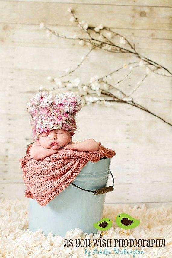 Crochet Pom Pon Hat - Custom Made Any Size Any Color