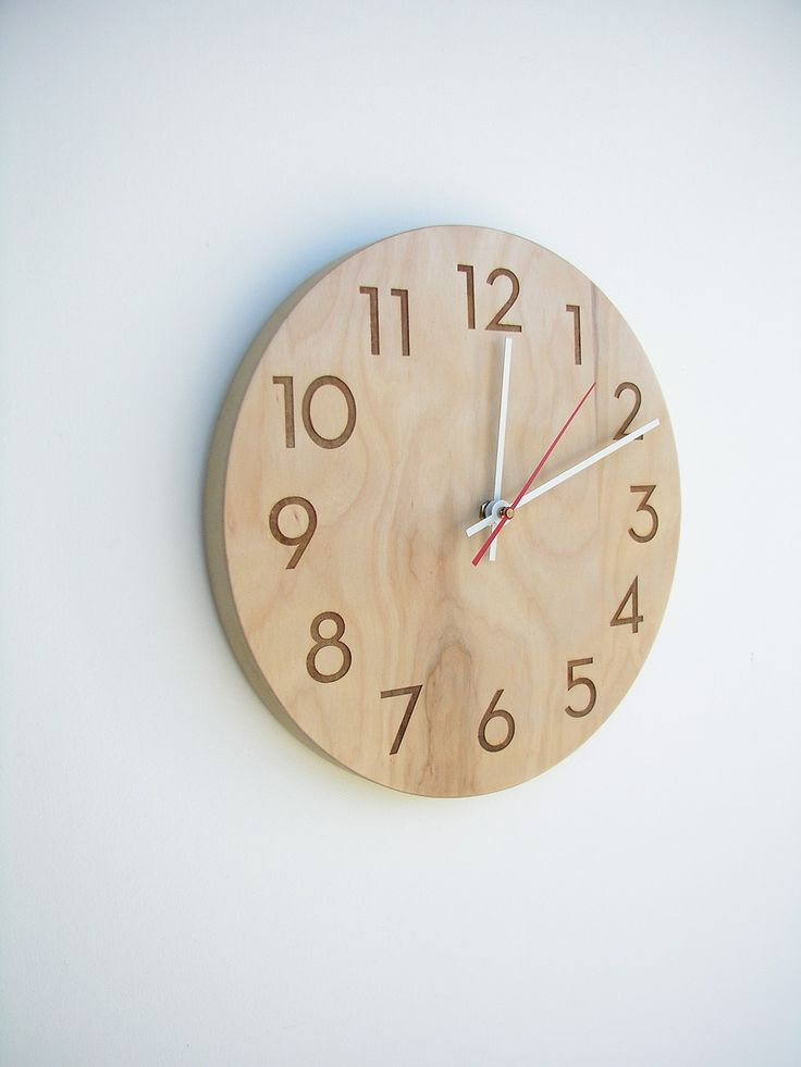 modern wood wall clock van uncommon op