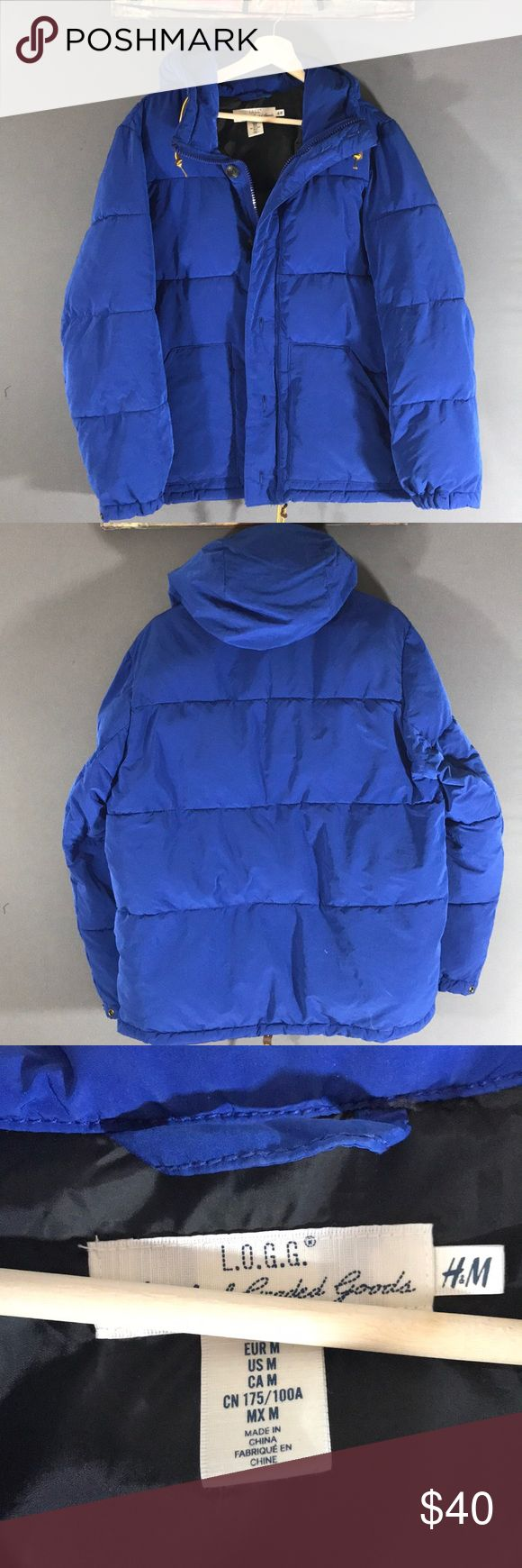H&M men's puffer jacket with hood full zip This item is pre-owned H&M men's blue puffer jacket full zip with button size M excellent condition H&M Jackets & Coats Puffers