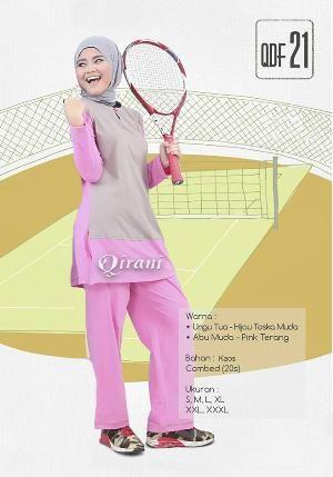 Baju Sport Olahraga Qirani Fresh QDF 21 Abu Muda-Pink