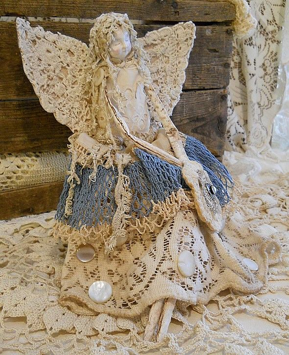 Image detail for -Angel Art Doll, Handmade of Paper Clay, Fabric Body, Vintage Crochet