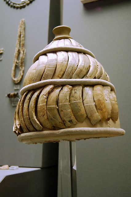 Mycenaean helmet, boar tusk helmet, 14th century B.C. For centuries the only record humanity had of a boar's tusk helmet was a description in Homer's Iliad. Through the years scholars assumed that Homer had just made up some fantasy helmet that never existed. But then archaeologists began to find artistic representations of boar's tusk helmets and even.