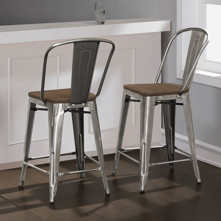Tabouret Bistro Wood Seat Gunmetal Finish Counter Stools (Set Of 2) By I  Love Living