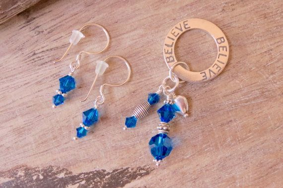 BELIEVE pendant and earrings set sterling by CreativeWorkStudios