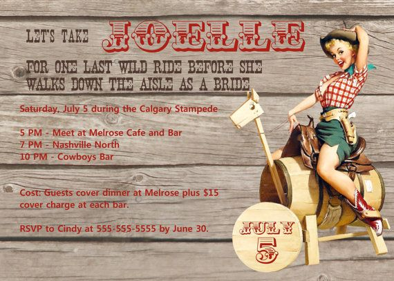 Printable Cowgirl Bachelorette Party invitation by glassslipperdesigns, $14.75