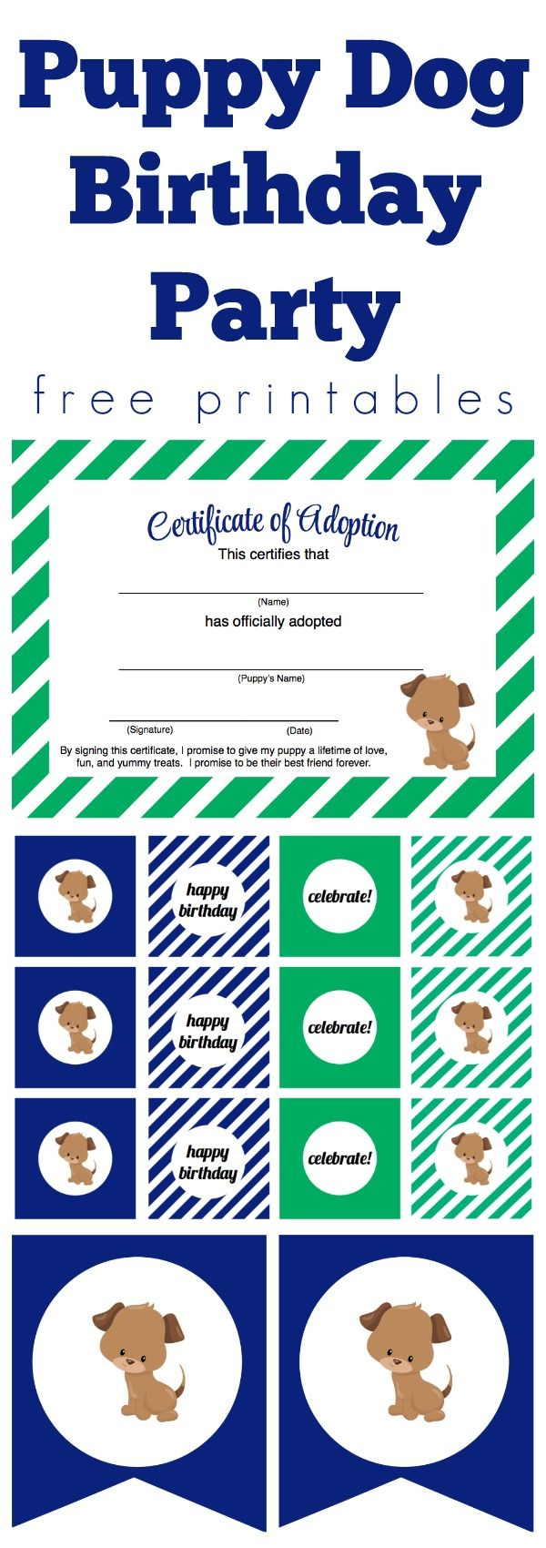 Adorable puppy dog birthday party (or pawty!) free printables