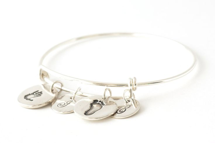 Two Round Handprint and Initial Charms on an Adjustable Bangle