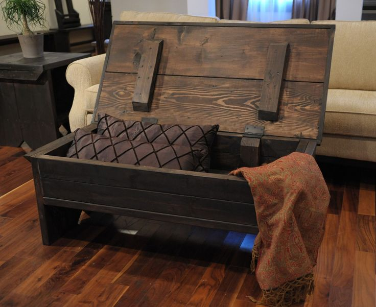 Reclaimed coffee table / coffee table with storage / coffee table trunk. $259.00, via ModernRust_Etsy. In a lighter colour wood, this table is perfect at the cottage - holds the cuddle blankets and maybe some board games too.