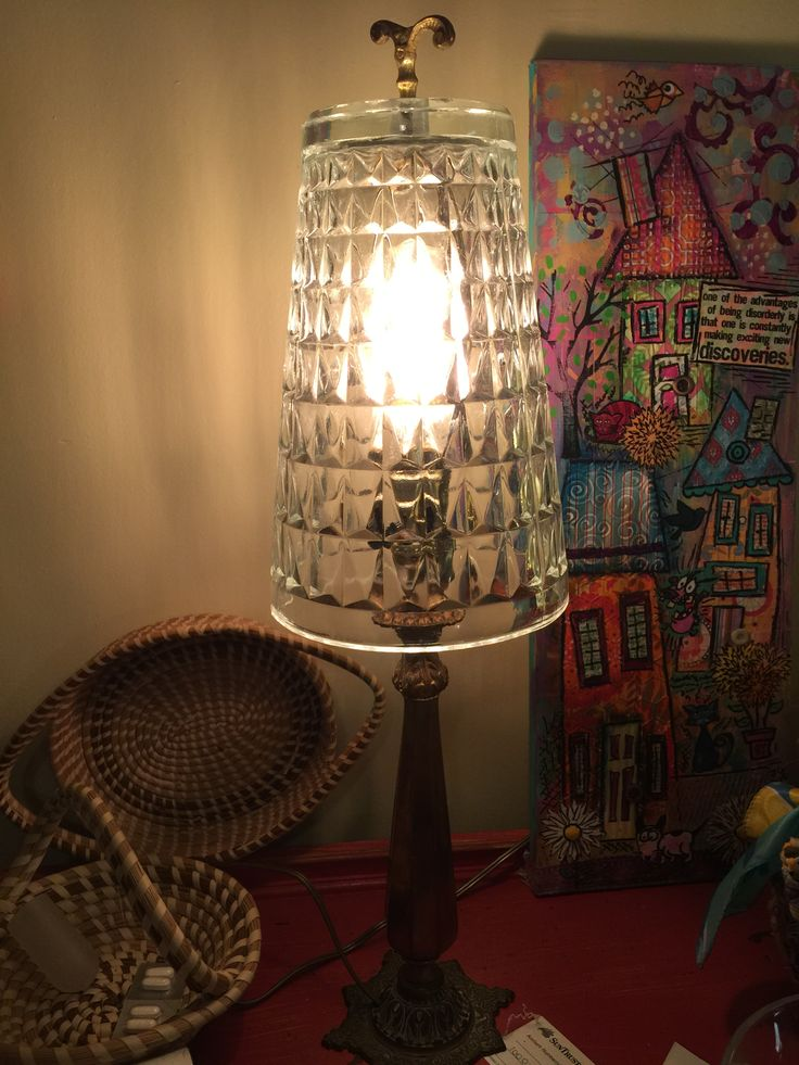 Lamp Shade Made From Glass Vase Repurposed Artwork Pinterest Lamp Shades Lamps And Glass Vase