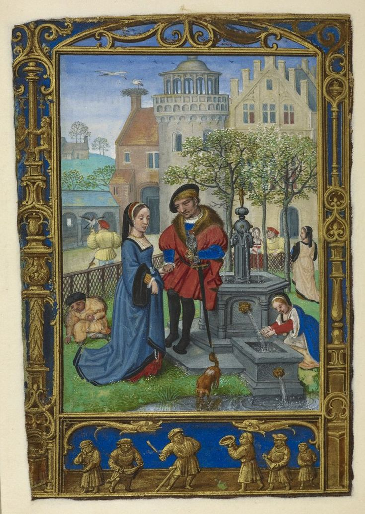 Calendar page for April with a courting scene, from the Golf Book (Book of Hours, Use of Rome), workshop of Simon Bening, Netherlands (Bruges), c. 1540,