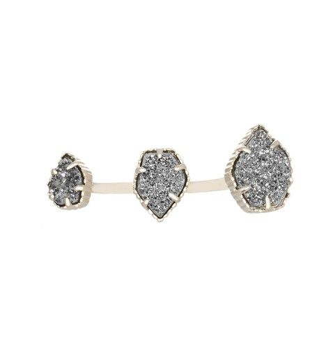 Naomi Double Ring in Platinum Drusy