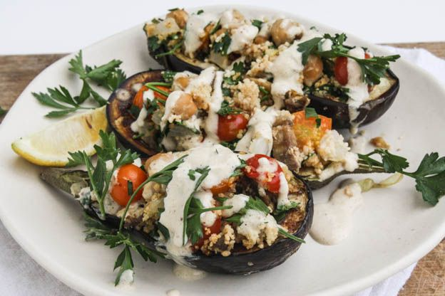 chickpea stuffed eggplant with couscous and tahini sauce - Dishing Up the Dirt