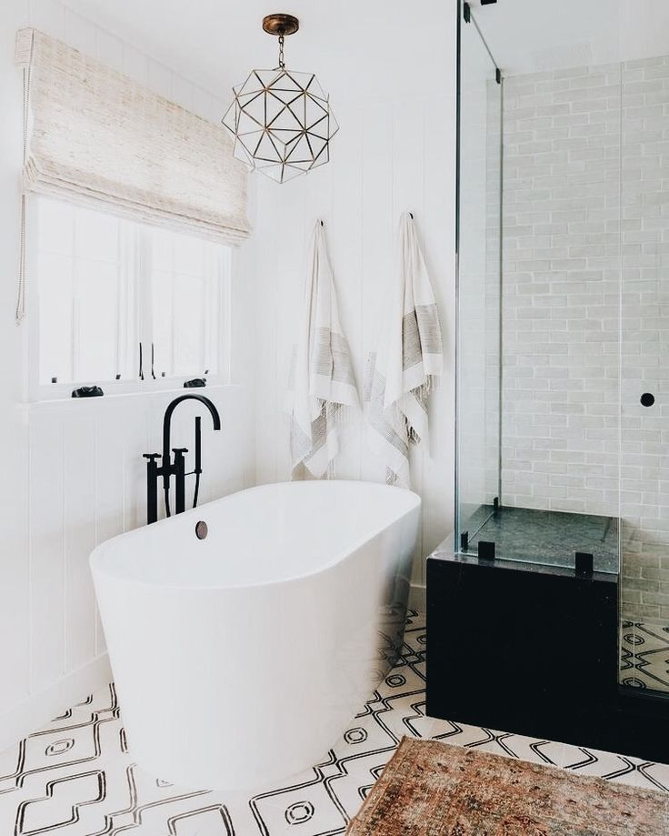 Classic meets modern bathroom- love that freestanding tub | Bathroom | Home