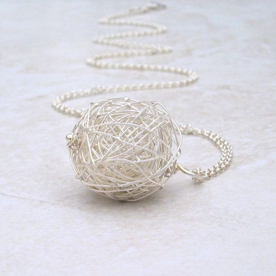 hand formed sterling silver ball pendant and chain