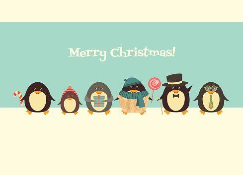 Веселые Рождественские поздравления с пингвины векторные искусства иллюстрации